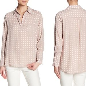 NWT Pleione Pleated Back Chiffon Hi-Lo Blouse